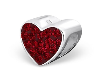 Sparkly Red Heart 925 Sterling Silver Bracelet Bead ( Fits Pandora and European Bracelets)