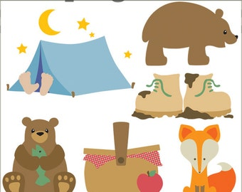 Camping Clipart -Personal and Limited Commercial Use- bear, tent, picnic, fox, camp clip art