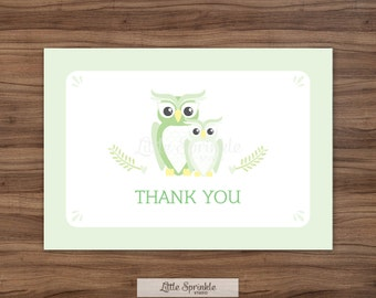 Mint Owls Thank You Card  / Mint Baby Shower Thank You / Printable Thank You Card / Printable Digital / INSTANT DOWNLOAD