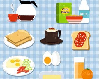 Petit déjeuner Clipart, vecteur le petit déjeuner, repas, Clipart sandwich, tout usage Commercial, le petit déjeuner l'Image numérique, Illustration, CLIPART numérique