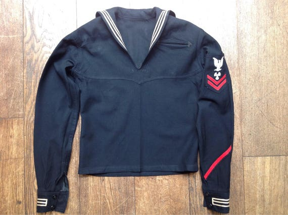 "Vintage 1940s 40s 1950s 50s black USN US navy crackerjack top jumper sailor rockabilly 38"" chest"