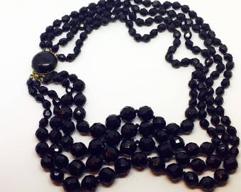 Necklace vintage French black glass , mourning necklace, 4 stands glass beads+ gift bag