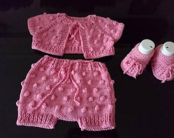popcorn sweater set, baby girl short, bolero and shoes set, baby girl gift set, baby girl booties, baby girl shrug, popcorn