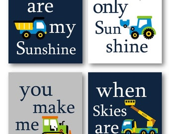 Construction Art for Kids // You are my sunshine Art Prints // Construction Vehicles Decor // Art for Boys // Truck Art 4-8x10 PRINTS ONLY