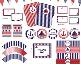 Nautical Birthday Party, Blue and Red, 10 Printable PDF Files, Instant Download, Birthday Decorations, Party Decor