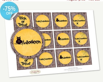 75% OFF SALE Favor Tags Printable Halloween Cards, Printable Handmade, Cupcake Toppers, Printable Supplie, Sticker, INSTANT download FT008