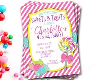 Lollipop Birthday Invitation, Candy Shop Invitation, Candy Shoppe, Sweets And Treats, Lollipop Invitation, Girl Invitation, DIY Printable