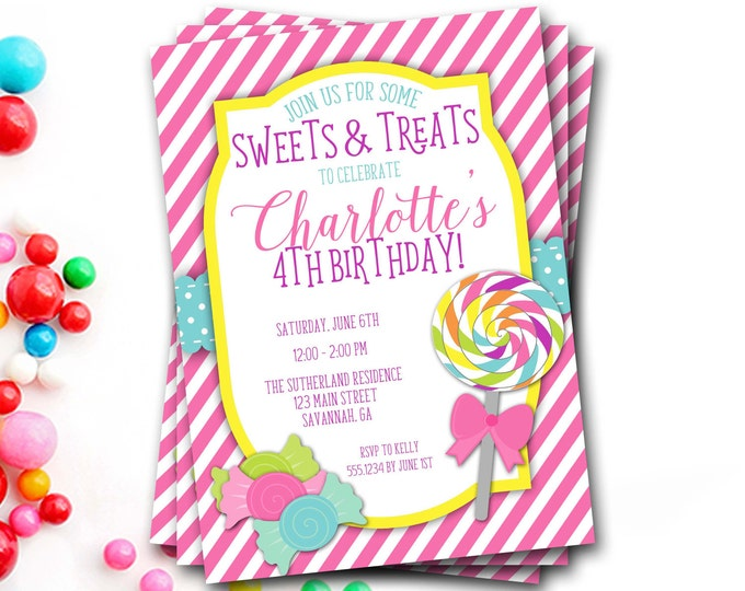 Lollipop Birthday Invitation, Candy Birthday Invitation, Candy Shoppe, Sweets And Treats, Lollipop Invitation, Girl Birthday Invitation