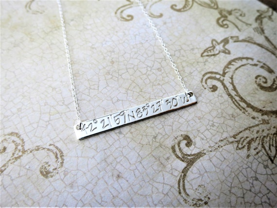 Latitude Longitude Sterling Silver Bar Necklace - Coordinates Necklace - Coordinates Jewelry - Special Place - Gift for Girlfriend