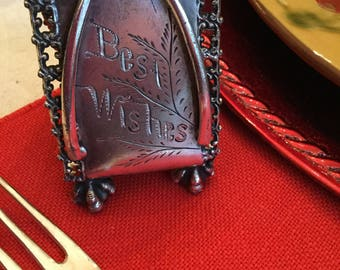 Victorian Meriden Silverplate Napkin Ring Holder-Best Wishes/Wishbone Pattern