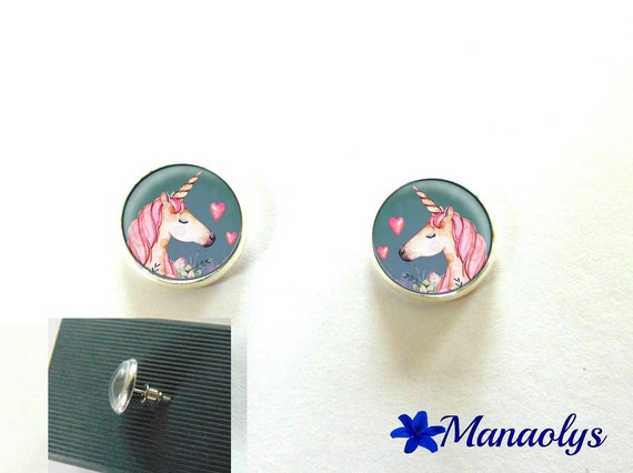 Round silver Stud Earrings, unicorns, 10 mm, 2994 glass cabochons