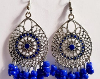 Blue beads chandelier earrings