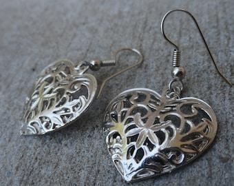 Vintage Lace Heart Earrings