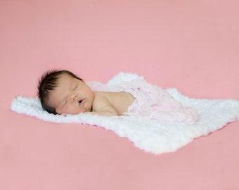 """Newborn Baby Blanket White Baby Blanket Newborn Photo Prop Newborn Photo Shoot Baby Girl Blanket Baby Boy Blanket 17"""" x 17"""" Cotton Candy"""