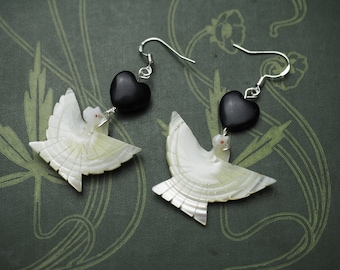 Mother of Pearl Dove & Black Heart Earrings - Peace, Innocence, Divinity - Pagan, Wicca, Witchcraft
