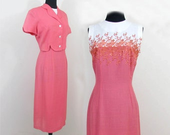 Coral & White Sheath and Jacket by Osgood - Linen Look Woven Rayon 1950s - Sm