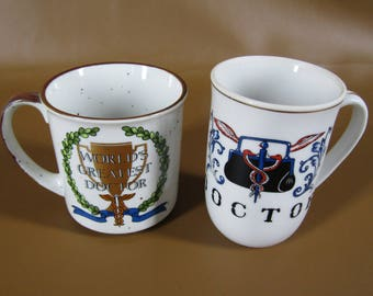 "lot of 2 vintage ""Doctor"" mugs made in Japan"