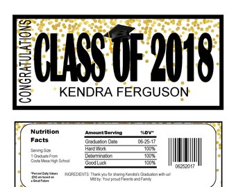 Graduation Candy Bar Wrapper Instant download editable Printable (do it yourself) Confetti -  GRA1220  DIY (1- PDF file) class of 2018