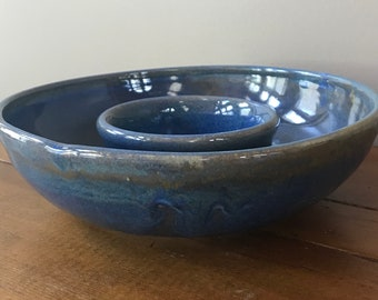 Handmade ceramic wheel thrown chips and dip serving dish
