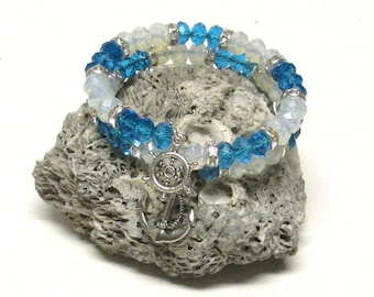 Size 7 Memory Wire Bracelet with Blue and Opal Crystals #20781B