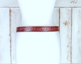 Vintage floral tooled braided red leather boho/festival belt/hip leather tie belt/embossed belt