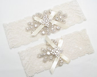 Ivory / White Wedding Garter Set, Crystal Rhinestone Keepsake / Toss Garters, Stretch Lace Garters, Garters with Bow