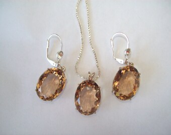 Save! Champagne Quartz Pendant and Earrings Set in Sterling Silver