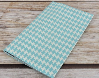 Checkbook Cover Case Cheque Coupons Receipts Check Book Cash Money Holder - Blue / White Houndstooth - Summer in the City Fabric