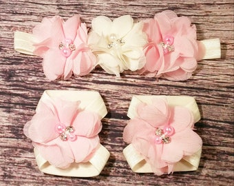 Pink and Ivory Chiffon Barefoot Sandals and Headband - Baby Barefoot Sandals - Baby Girl Headband - Baby Headbands - Baby Bows and headbands
