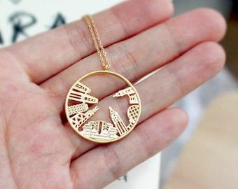 """New York City Necklace, NYC Pendant, 24"""" long necklace,Skyline Necklace"""