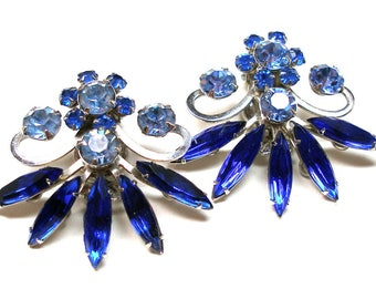 80s Rhinestone earrings, Crystal & indigo blue in silver, clip-on.