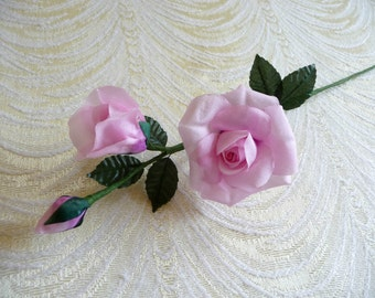 Vintage Small Silk Rose and Buds Pink NOS Millinery for Corsage Floral Crowns Hair Pins Crafts Dolls