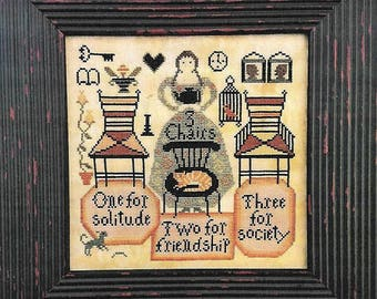 CARRIAGE HOUSE SAMPLINGS Three 3 Chairs counted cross stitch patterns at thecottageneedle.com Spring Mother's Day