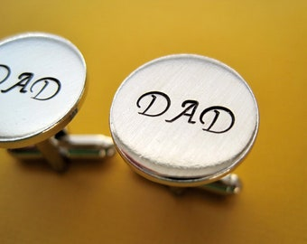 Dad Cuff Links - Gift for Dad - Hand stamped custom Cuff links