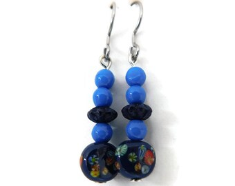 navy floral blue drop earrings with vintage beads
