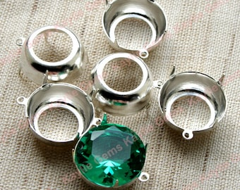 Round SS65 / 15.5mm  Prong Setting Sterling Silver Plated Open Back 1 Ring / 2 Ring - 4pcs