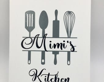 Mimi's Kitchen Print on White Canvas Panel, Kitchen Decor, Bake Wall Art, Canvas Wall Decor, Bakery Decor, Gift for Mimi