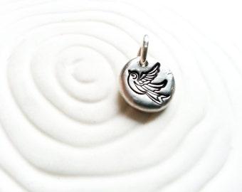Tattoo Sparrow Charm - Hand Stamped, Personalized Bird Necklace Charm - Tiny Bird Charm