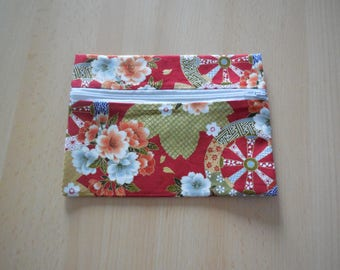 Clutch in cotton fabric and traditional Japanese Red and gold