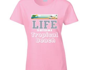 White Tropica Beach T Shirt