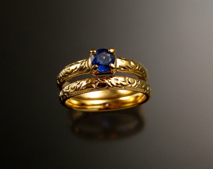 Sapphire Wedding set 14k Yellow Gold Natural Bright Blue Ceylon Sapphire Victorian rings made to order in your size