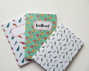 Typography For Brilliant Ideas Paper Planes Leaves Feather - Pack of Pocket size Journals - Pack of 3 Notebooks - A6 - Blank Pages