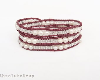 White freshwater pearl wrap bracelet with glass beads on red polyester cord, triple wrap bracelet, white and red