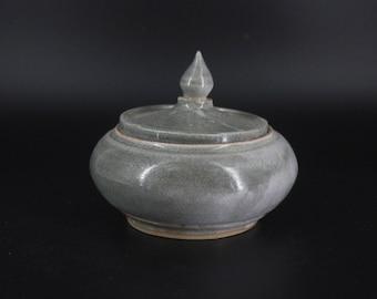 Ceramic Lidded Pot / Smoky Sugar Bowl / Small Urn / Stoneware Jar / Hand Made Pottery