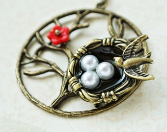 Bird Nest Necklace,Nest Pendant Jewelry,Tree Necklace, Family Tree Necklace, Tree of Life, Family Tree Jewelry, Gift for her, Gift for mom