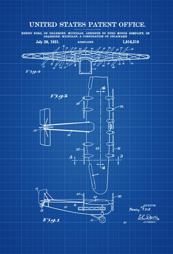 Ford airplane patent vintage airplane airplane blueprint like this item malvernweather Image collections