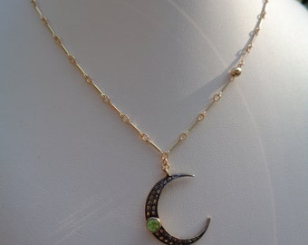 Gold chain, 585 gold filled with Moon pendant with diamond chip and Onyx