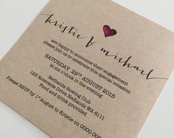 Engagement Invitation | Printable Engagement Invite | Custom Printable Engagement Party Invitation | Plum J&G Heart Design