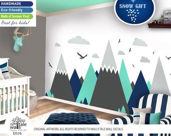 Large Mountains Wall Decal for Nursery, Kid room. High quality removable sticker - eagles, pine trees, clouds. Adventure decal d576