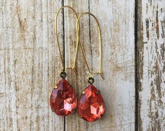 Coral Vintage Inspired Drop Earrings